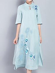 baratos -Mulheres Tamanhos Grandes Feriado Básico / Temática Asiática Algodão Evasê Vestido - Bordado, Sólido Colarinho Chinês Médio