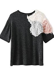 abordables -t-shirt simple quotidien féminin col rond manches courtes pu