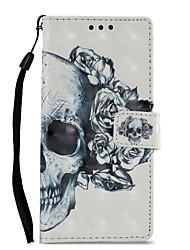 Недорогие -Кейс для Назначение Sony Xperia XZ1 Xperia XA1 Бумажник для карт Кошелек со стендом Флип С узором Чехол Черепа Твердый Кожа PU для Sony