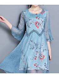 baratos -Mulheres Boho Manga Alargamento Bainha Vestido - Estampado, Floral