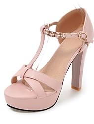 Недорогие -Жен. Обувь Дерматин Материал на заказ клиента Лето Оригинальная обувь Удобная обувь Сандалии На толстом каблуке Открытый мыс для Свадьба