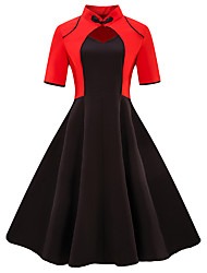 cheap -Women's Plus Size Going out Vintage Basic Slim Sheath Dress - Color Block Black & Red V Neck