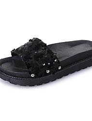 preiswerte -Damen Schuhe PU Frühling / Sommer Komfort Sandalen Keilabsatz Offene Spitze Niete für Kleid Gold / Schwarz / Silber