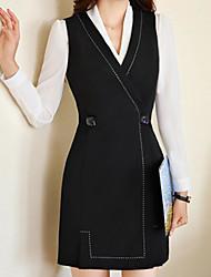 abordables -Mujer Trabajo Casual Sensual Delgado Línea A Vestido - Básico, Un Color Alta cintura Sobre la rodilla Escote en Pico