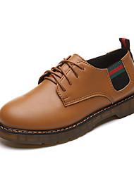 女性用 靴 PUレザー 春 夏 コンフォートシューズ オックスフォードシューズ フラットヒール ラウンドトウ のために カジュアル ブラック ライトブラウン