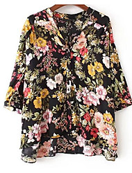 cheap -Women's Cute Loose Shirt - Floral V Neck