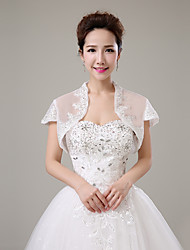 cheap -Short Sleeve Tulle Wedding / Party / Evening Women's Wrap With Rhinestone / Lace Shrugs