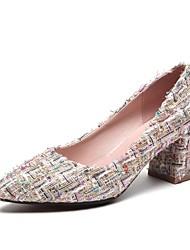 女性用 靴 レザーレット 春 夏 コンフォートシューズ ヒール チャンキーヒール ポインテッドトゥ のために カジュアル アウトドア ブラック ピンク