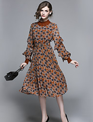 abordables -Femme Basique Trapèze Robe - Dentelle, Fleur Maxi