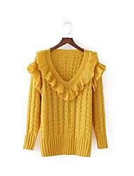 Недорогие -Жен. Длинный рукав Пуловер - Однотонный, Классический V-образный вырез