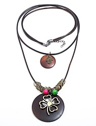 cheap -Women's Multi Layer Layered Necklace  -  Vintage Multi Layer Statement Four Leaf Clover Brown Necklace For Party / Evening New Year