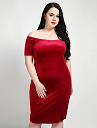 cheap -Cute Ann/Really Love Women's Plus Size Club Work Basic Velvet Slim Shift Sheath Dress - Solid Colored Split Off Shoulder