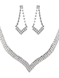 cheap -Women's Cubic Zirconia Jewelry Set - Imitation Diamond Drop Classic, Vintage, Elegant Include Drop Earrings / Choker Necklace / Bridal Jewelry Sets Silver For Wedding / Party / Engagement