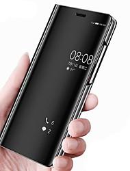 baratos -Capinha Para Huawei Mate 10 pro Mate 10 lite Com Suporte Espelho Flip Auto Dormir/Despertar Capa Proteção Completa Côr Sólida Rígida PU