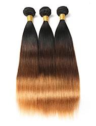 Недорогие -3 Связки Бразильские волосы Прямой 8A Натуральные волосы Омбре 10-26 дюймовый Омбре Ткет человеческих волос Расширения человеческих волос / Прямой силуэт