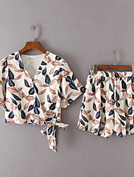 abordables -Femme Actif Court Set - Fleur Taille haute Pantalon Col en V