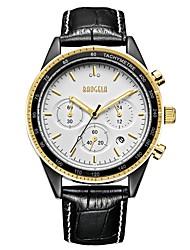 Недорогие -BAOGELA Муж. Кварцевый Модные часы Спортивные часы Китайский Хронометр С тремя часовыми поясами Натуральная кожа Группа На каждый день