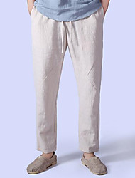 cheap -Men's Linen Loose Pants - Solid Colored