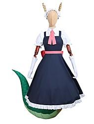 Недорогие -Вдохновлен Мисс Кобаяши «Драконница» Косплей Аниме Косплэй костюмы Косплей Костюмы Платья другое Короткие рукава Блузка Платье Перчатки