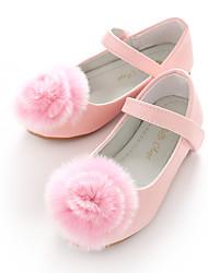 baratos -Para Meninas Sapatos Courino Primavera Sapatos para Daminhas de Honra Bailarina Rasos Pom Pom Velcro para Casamento Festas & Noite Branco