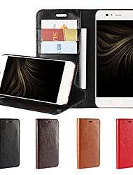 abordables -Coque Pour Huawei P10 Plus P10 Lite Porte Carte Portefeuille Antichoc Avec Support Clapet Coque Intégrale Couleur unie Dur Cuir véritable