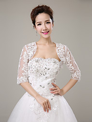 cheap -Half Sleeves Tulle Wedding Party / Evening Women's Wrap With Rhinestone Lace Shrugs