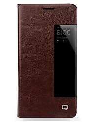 Недорогие -Кейс для Назначение Huawei Mate 10 lite Mate 10 Защита от удара с окошком Флип Чехол Сплошной цвет Твердый Настоящая кожа для Mate 10