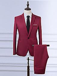 abordables -Blazer Grandes Tailles Homme - Couleur Pleine Rétro Revers Cranté Mince