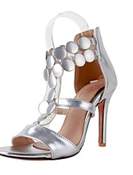 cheap -Women's Shoes PU Summer Gladiator Sandals Stiletto Heel Open Toe Sequin for Wedding Party & Evening Gold Silver Red