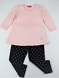 cheap -Girls' Daily Floral Color Block Clothing Set, Cotton Spring Fall Long Sleeves Casual Active Blushing Pink Gray