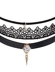 cheap -Women's Rhinestone Leather Lace Choker Necklace  -  Fashion Sweet Circle Black Pink Necklace For Party / Evening Daily