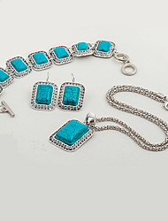cheap -Women's Turquoise Jewelry Set 1 Necklace 1 Bracelet Earrings - Fashion Ethnic Geometric Jewelry Set For Party Evening Party