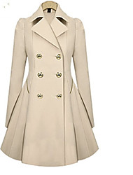 cheap -Women's Casual Trench Coat-Solid Colored