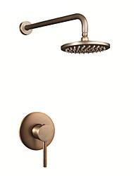 cheap -Antique Country Shower System Rain Shower Ceramic Valve Single Handle Three Holes Antique Copper, Shower Faucet