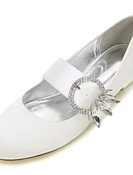 cheap -Women's Shoes Satin Spring / Summer Ballerina Wedding Shoes Flat Heel Round Toe Rhinestone / Bowknot / Sparkling Glitter Blue / Champagne