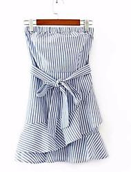 cheap -Women's Sheath Dress - Striped Ruffle Strapless / Summer