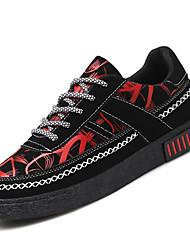 baratos -Homens sapatos Courino Primavera Outono Conforto Tênis para Casual Branco/Preto Preto/Vermelho Black / azul