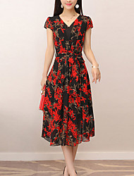 cheap -Women's Sophisticated Street chic Sheath Chiffon Dress - Floral, Ruched Print