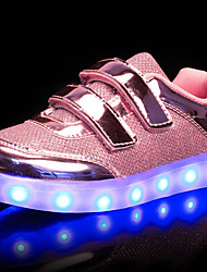 cheap -Boys' / Girls' Shoes PU Spring / Fall Comfort / Light Up Shoes Sneakers Walking Shoes Lace-up / Magic Tape / LED for Gold / Silver / Pink