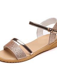 levne -Dámské Boty PU Léto Pohodlné Sandály Rovná podrážka pro Venkovní Zlatá Stříbrná