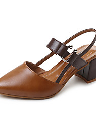 cheap -Women's Shoes PU Summer Slingback Heels Stiletto Heel Pointed Toe Buckle for Casual Dress Beige Dark Brown