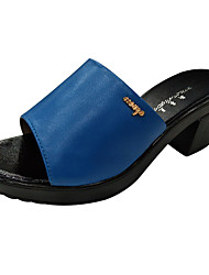cheap -Women's Shoes Leather Summer Gladiator Slippers & Flip-Flops Block Heel Peep Toe for Black / Purple / Blue