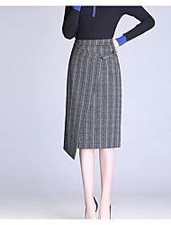 Žene Bodycon Suknje - Jednobojni Prugasti uzorak, Drapirano