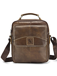 cheap -Men's Bags Cowhide Shoulder Bag Zipper Brown