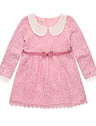 abordables -Robe Fille de Soirée Vacances Couleur Pleine Jacquard Coton Acrylique Polyester Printemps Eté Manches Longues simple Rétro Blanc Rose
