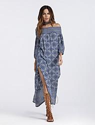 cheap -Women's Beach Boho Batwing Sleeve Loose Dress - Floral, Split Print Maxi Off Shoulder Boat Neck