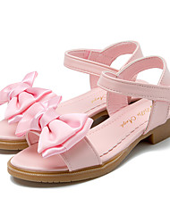 cheap -Girls' Shoes Leatherette Summer Flower Girl Shoes / Tiny Heels for Teens Sandals Bowknot / Magic Tape for White / Pink