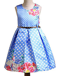cheap -Girl's Daily Polka Dot Dress, Cotton Polyester Summer Sleeveless Simple Fuchsia Light Blue