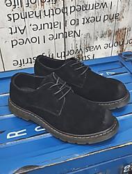 Homens sapatos Couro de Porco Inverno Outono Conforto Oxfords para Casual Preto Cinzento Verde Tropa