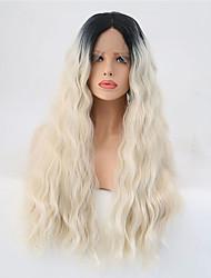 Недорогие -Синтетические кружевные передние парики Естественные волны Искусственные волосы Волосы с окрашиванием омбре Блондинка Парик Жен. Длинные